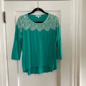 Kenar Tops - Hi-lo blouse with lace